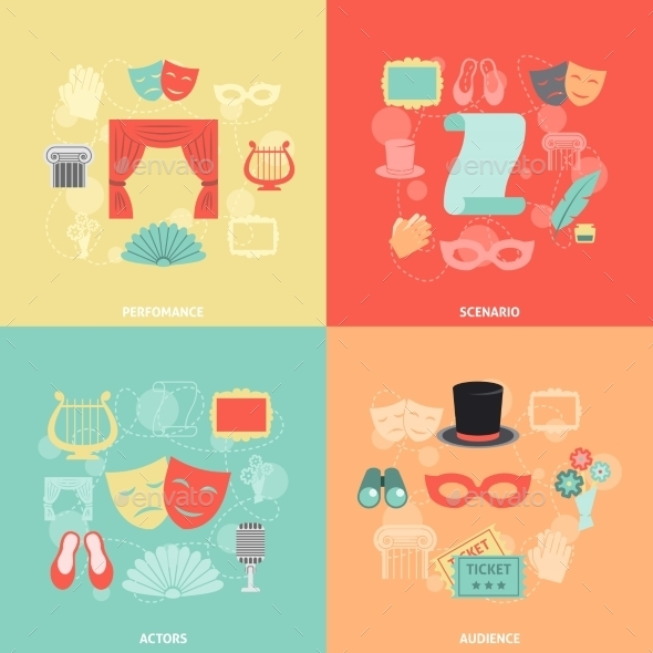 Theatre Icons Flat - Decorative Vectors