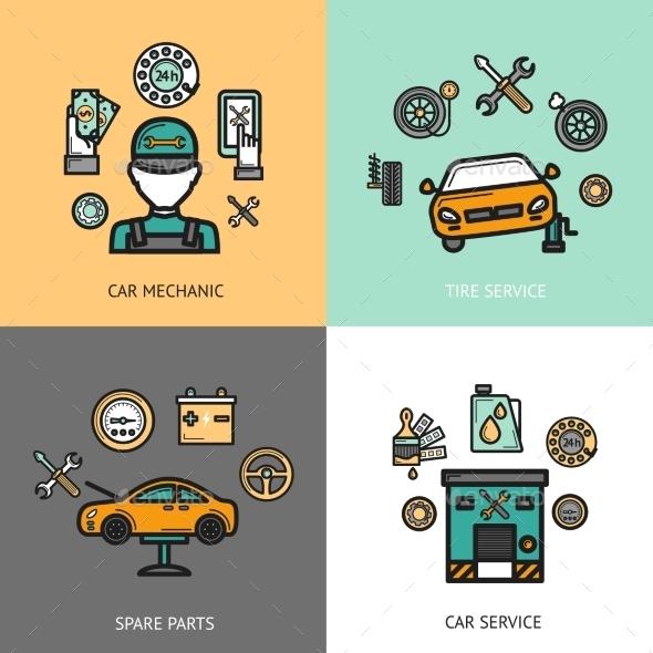 Auto Service Set - Business Conceptual