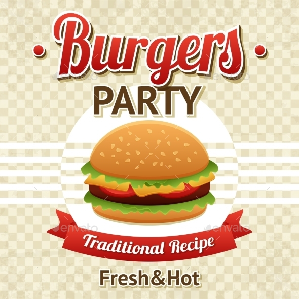 Burger Party Poster - Food Objects