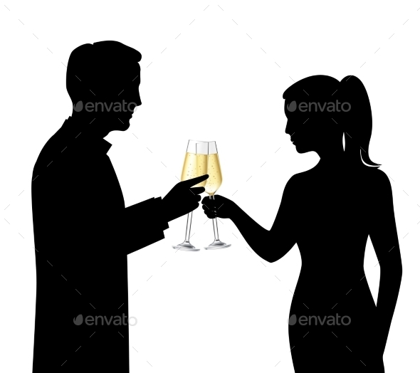 Drinking Couple Silhouettes - People Characters