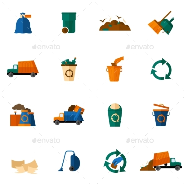 Garbage Icons Flat - Web Elements Vectors