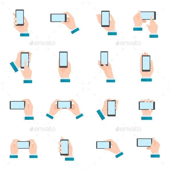 Hand With Phone Icons - Technology Conceptual