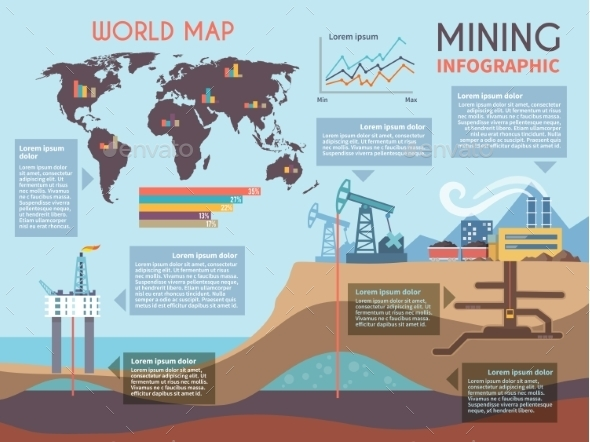 Mining Infographics Set - Industries Business