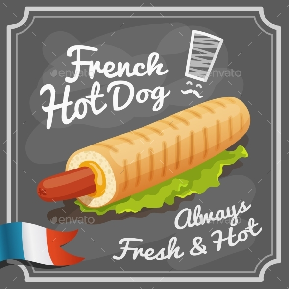 French Hot Dog Poster - Food Objects