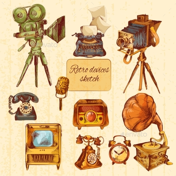 Retro Devices Sketch Colored - Objects Vectors