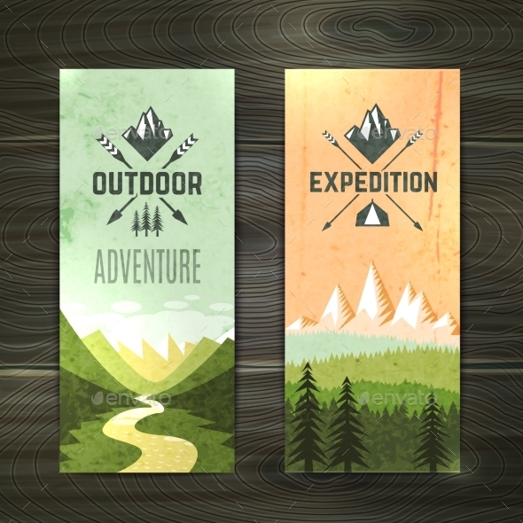 Tourism Vertical Banners Set - Nature Conceptual