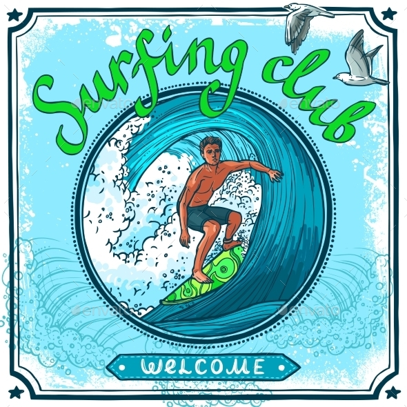 Surfing Poster - Travel Conceptual