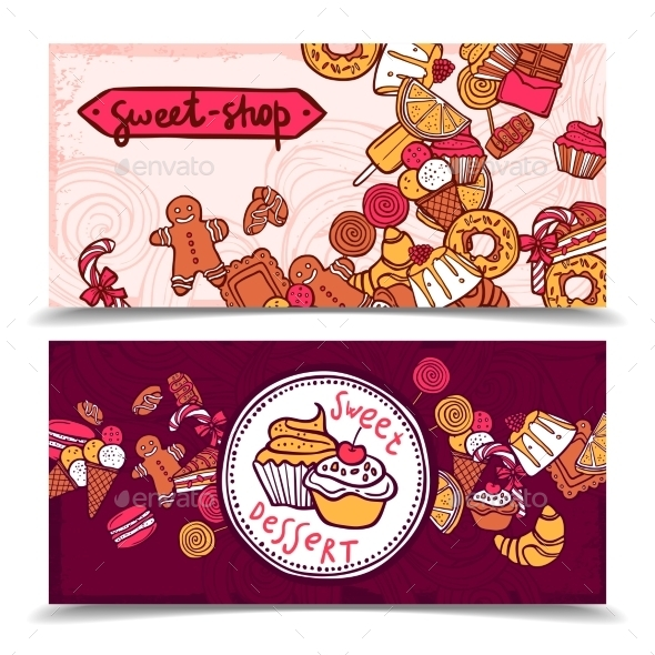 Sweetshop Vintage Candy Banners Set - Borders Decorative