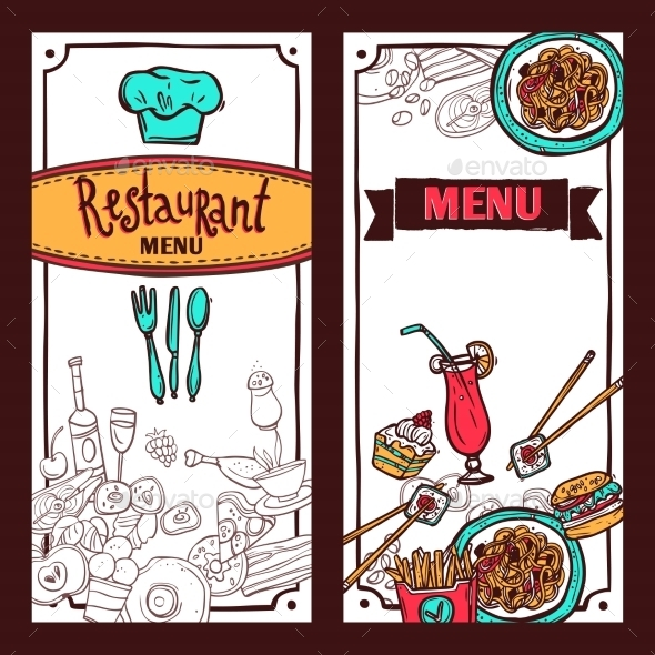 Restaurant Menu Food Banners Set - Food Objects