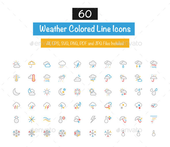 60 Weather Colored Line Icons - Seasonal Icons