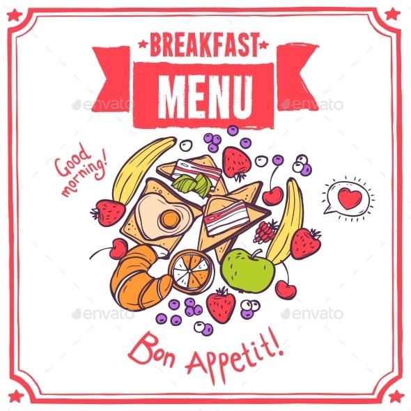 Breakfast Sketch Menu - Food Objects