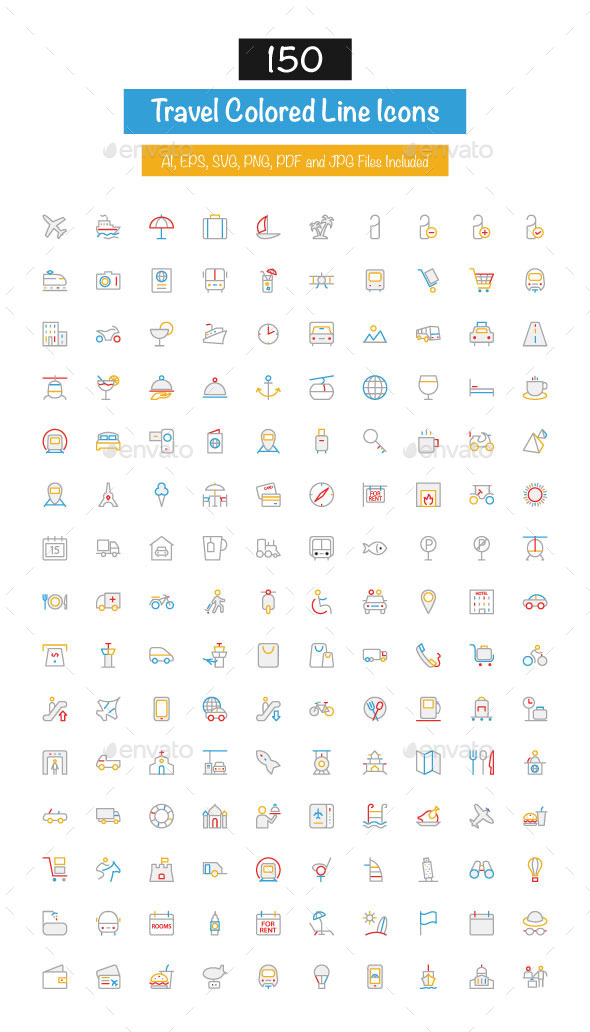 150 Travel Colored Line Icons - Icons