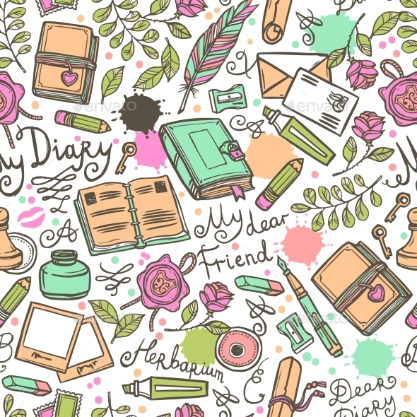 Diary Seamless Pattern - Backgrounds Decorative