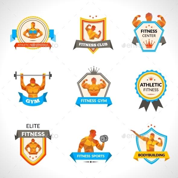 Bodybuilding Emblems Set - Sports/Activity Conceptual