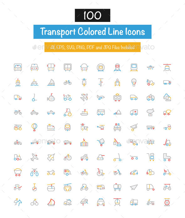 100 Transport Colored Line Icons - Icons