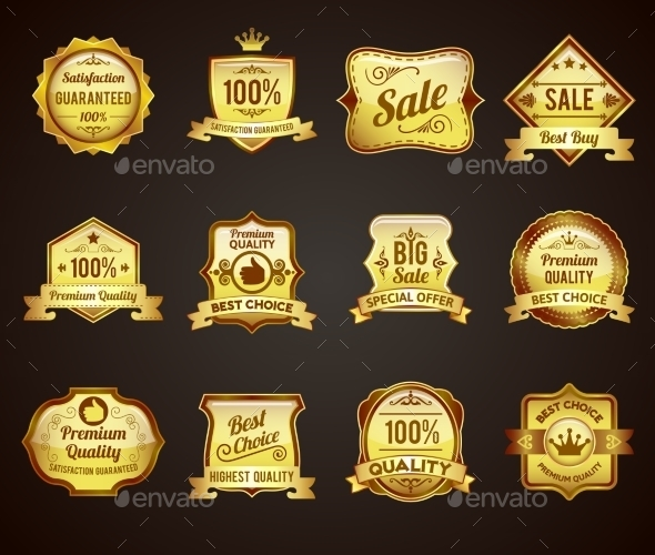 Golden Sales Labels Icons Collection  - Retail Commercial / Shopping