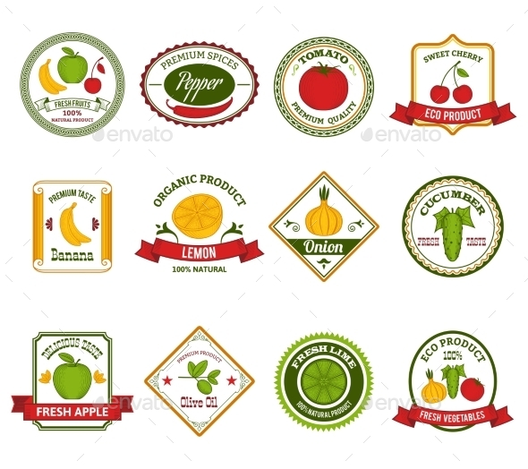 Fruit Vegetables Labels Set Color - Food Objects