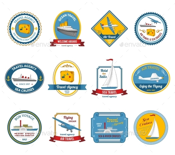 Cruise Travel Agency Tours Labels Colored  - Travel Conceptual