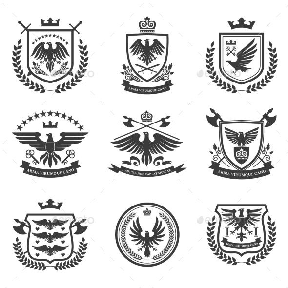 Eagle Emblems Icon Set Black - Decorative Symbols Decorative