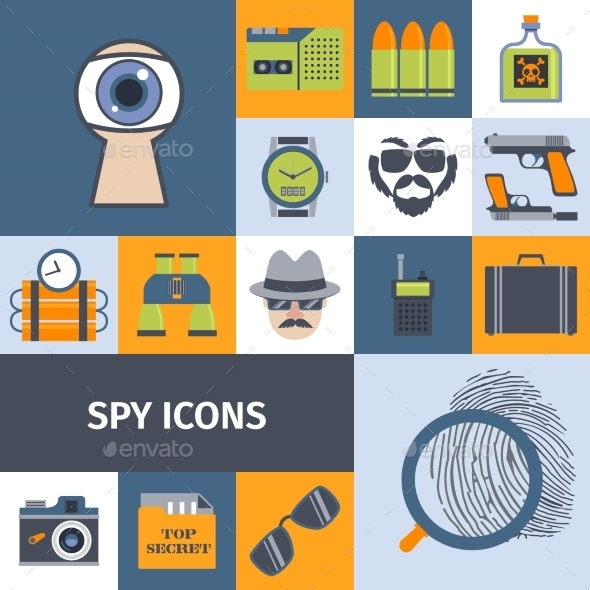 Spy Gadgets Flat Icons Composition Poster - Miscellaneous Vectors
