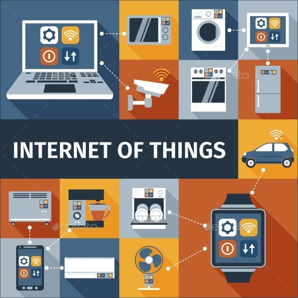 Internet of Things Flat Icons Composition - Web Technology