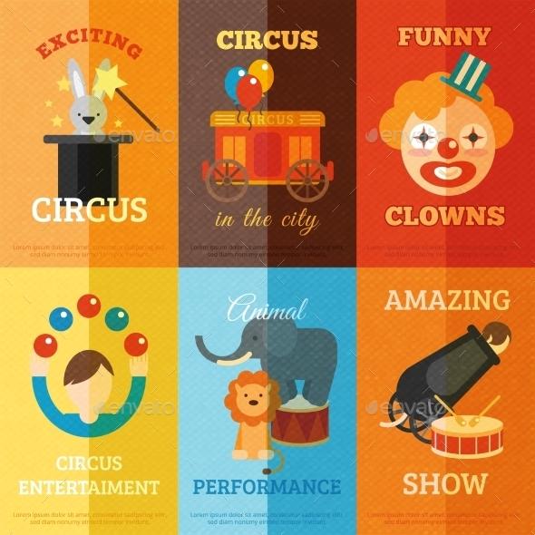 Circus Poster Set - Backgrounds Decorative