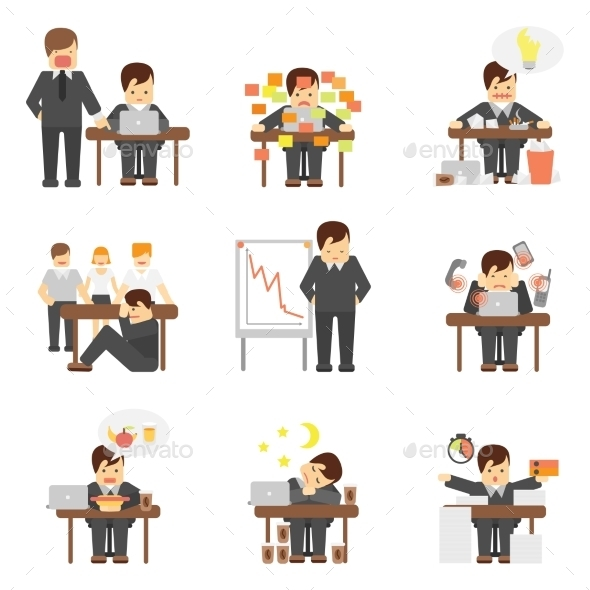 Stress at Work Icons Set - Web Technology