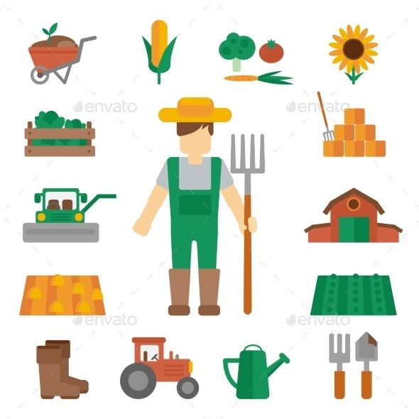 Farmer Land Icons Flat - People Characters