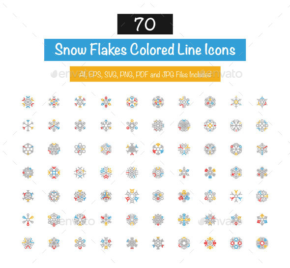 70 Snow Flakes Colored Line Icons - Seasonal Icons