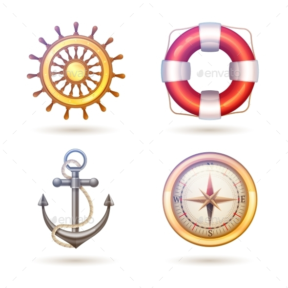 Marine Symbols Set - Travel Conceptual
