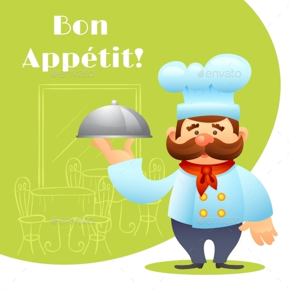 Chef With Tray Poster - Food Objects