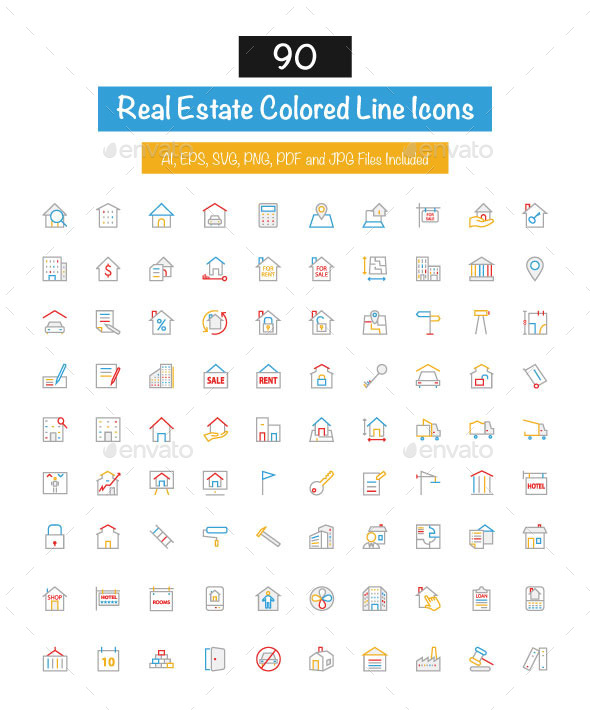 90 Real Estate Colored Line Icons - Business Icons
