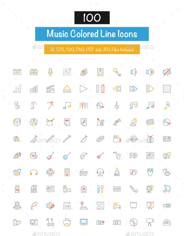 100 Music Colored Line Icons - Media Icons