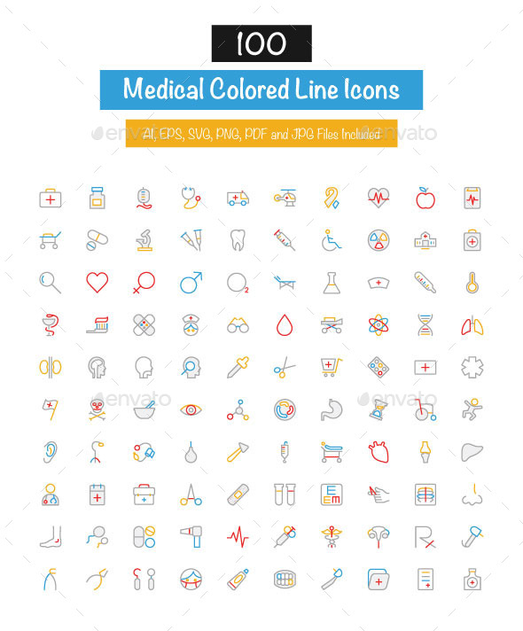 100 Medical Colored Line Icons - Icons