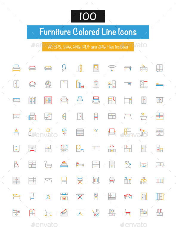100 Furniture Colored Line Icons - Man-made objects Objects