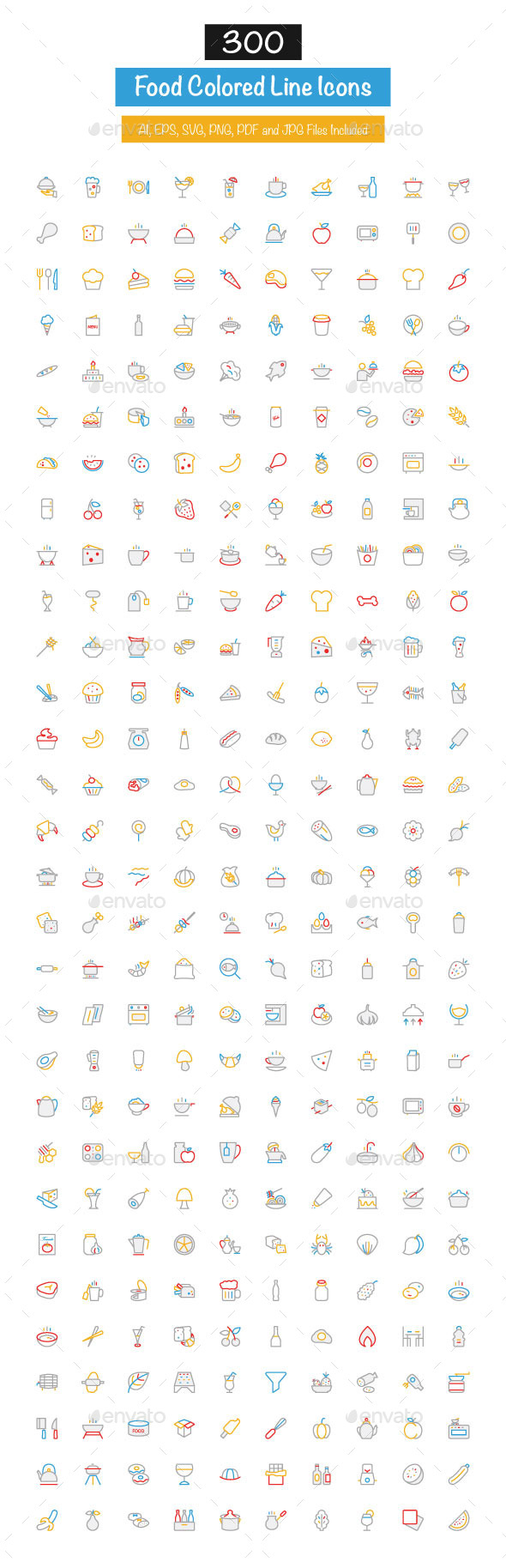 300 Food Colored Line Icons - Food Objects