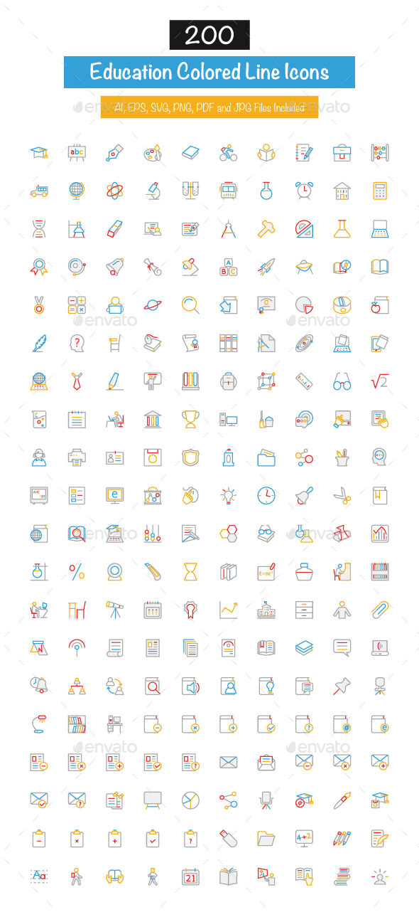 200 Education Colored Line Icons - Icons
