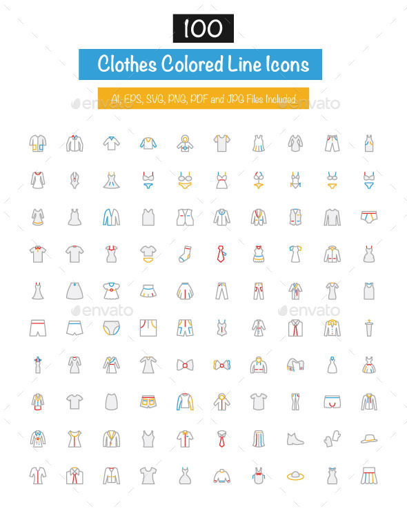 100 Clothes Colored Line Icons - Icons