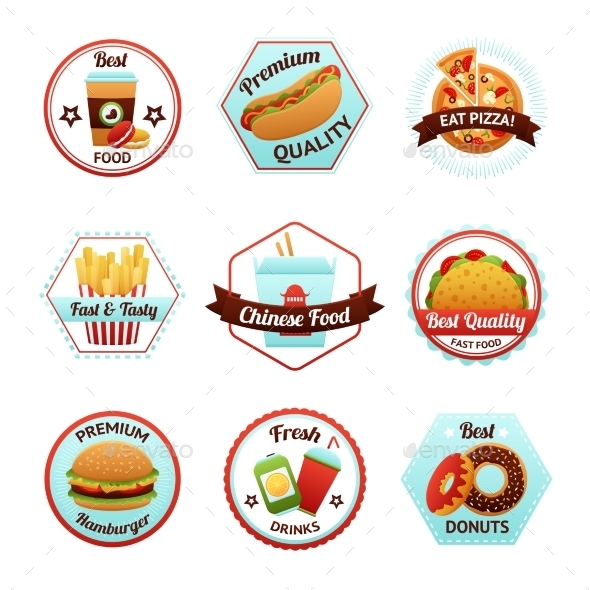 Fast Food Emblems - Food Objects