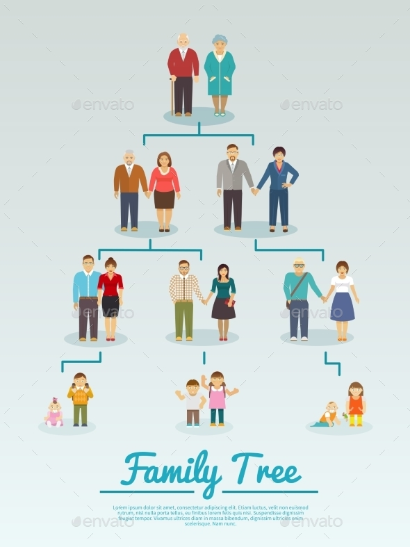 Family Tree Flat - People Characters