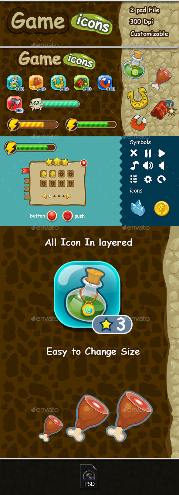 Game Icons & Ui Set - User Interfaces Game Assets