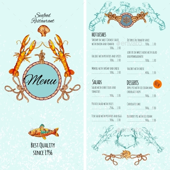 Seafood Menu Template - Food Objects