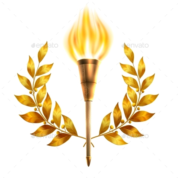 Torch And Laurel Wreath - Objects Vectors