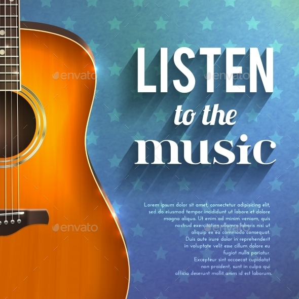 Music Background With Guitar - Backgrounds Decorative