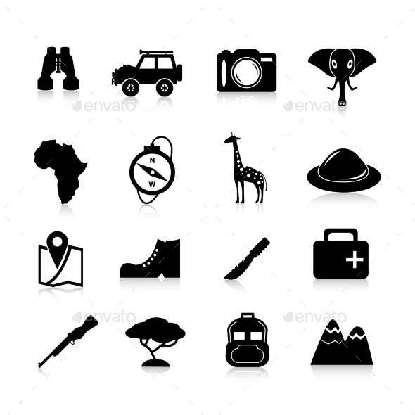 Safari Icons Black - Travel Conceptual