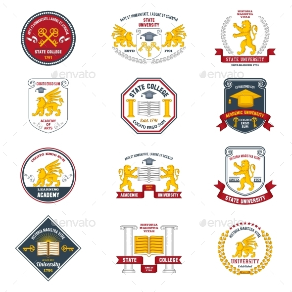 University Labels Colored - Miscellaneous Conceptual