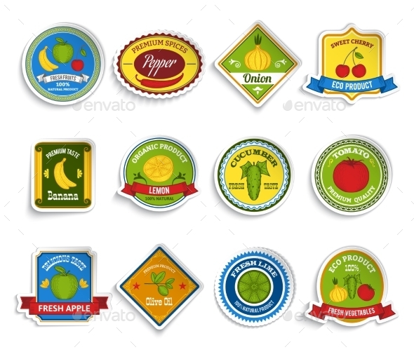 Fruit and Vegetable Stickers  - Food Objects