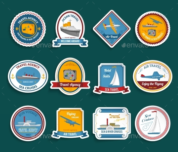 Cruise Travel Agency Stickers Set - Travel Conceptual