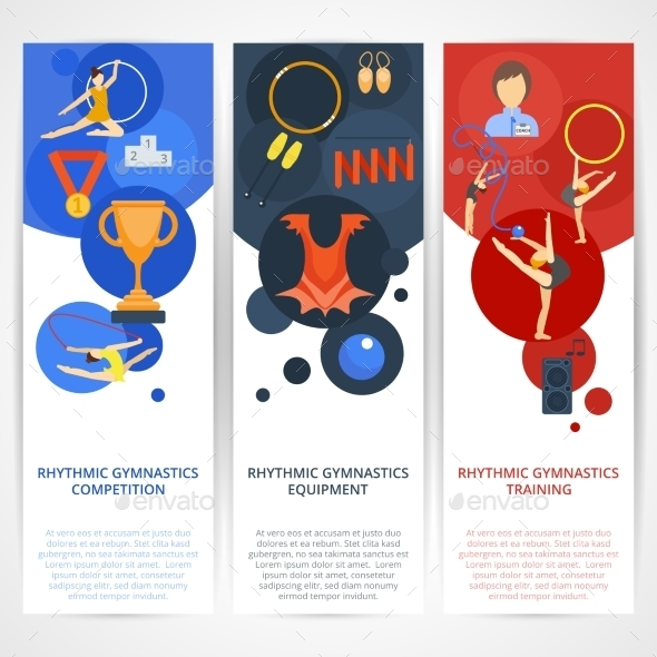 Gymnastics Banners Flat - Sports/Activity Conceptual