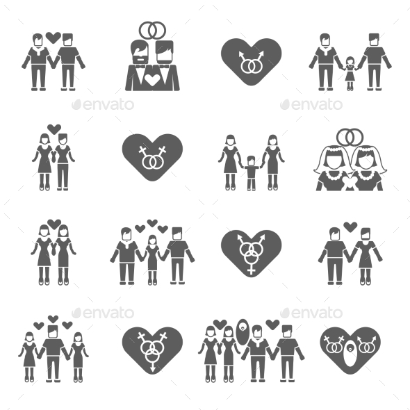 Non-Traditional Family Icons Set - People Characters